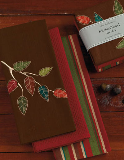 Autumn Leaves Embroidered Kitchen Towel