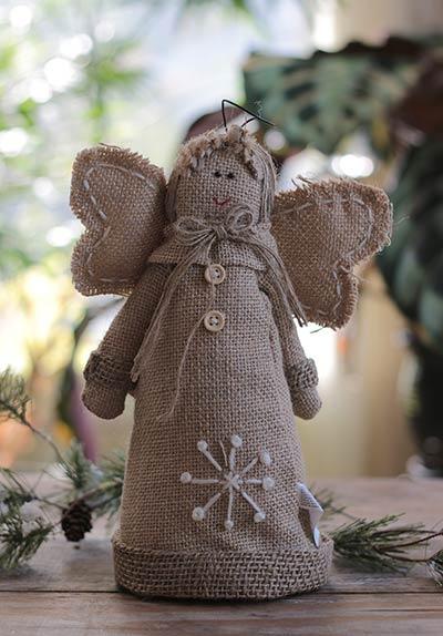 Burlap Snowy Angel