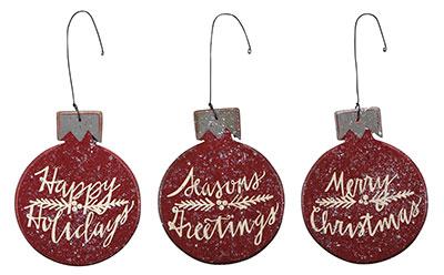 Red Bulb Ornaments (Set of 3)