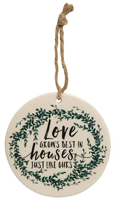 Love Grows Best Ceramic Ornament