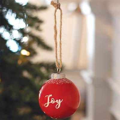 Joy Red Ceramic Ornament