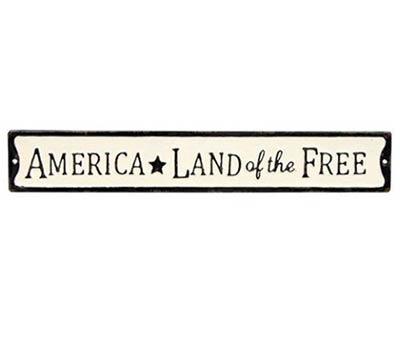 Land of the Free Enamel Street Sign