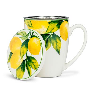 Lemon Tree Bone China Mugs with Lid & Strainer (Set of 4)
