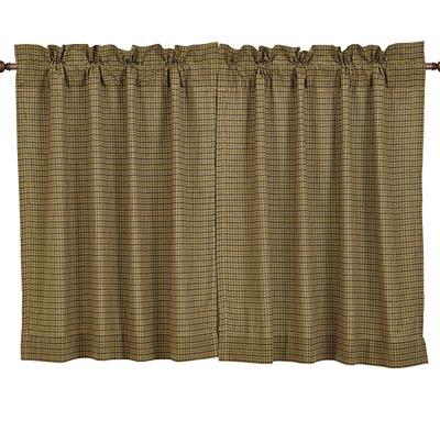 Tea Cabin Green Plaid Cafe Curtain - 36 inch