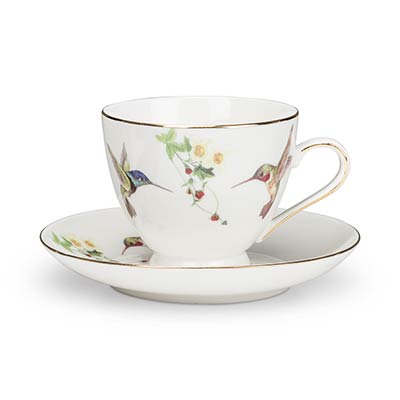 Hummingbird Bone China Cups & Saucers (Set of 4)