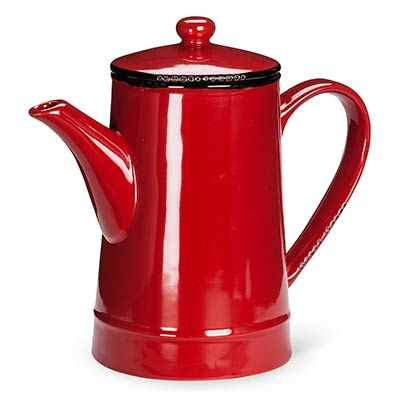 Red Enamel Look Coffee Pot