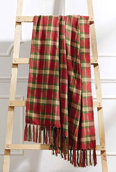 claren christmas plaid woven throw blanket