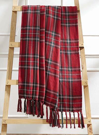 collin christmas plaid woven throw blanket