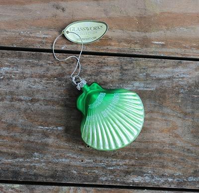 Green Seashell Ornament