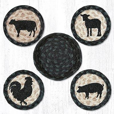 Barnyard Animal Braided Coaster Set