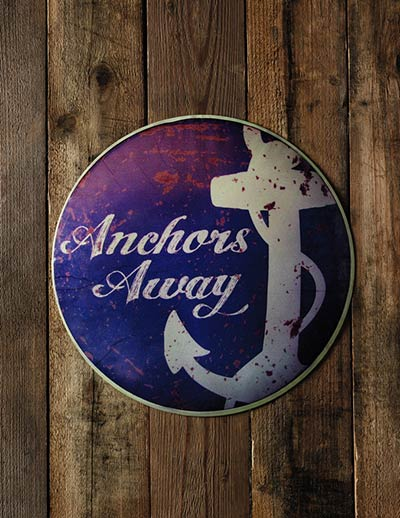 Antiqued Anchor Tin Sign