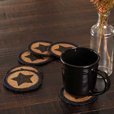 Farmhouse Black Star Jute Coasters (Set of 6)