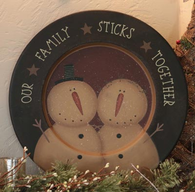 Families Sticks Together Snowman Plate - Large