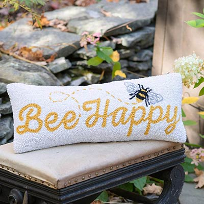 Bee Happy Hooked Pillow