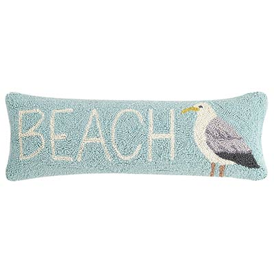 Beach And Seagull Hooked Pillow