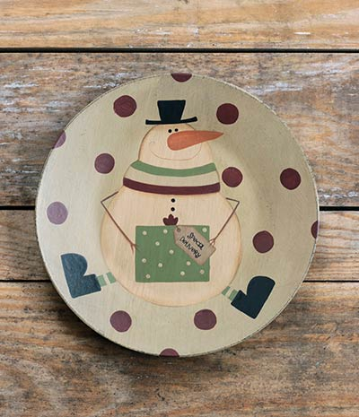 Special Delivery Snowman Plate