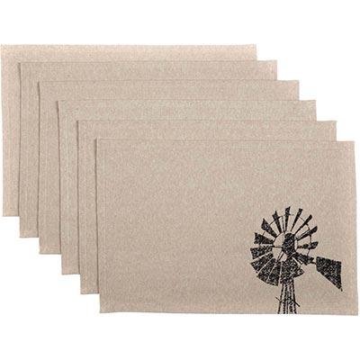 Sawyer Mill Charcoal Windmill Placemats (Set of 6)
