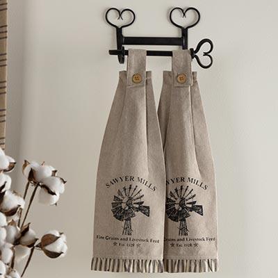 Sawyer Mill Charcoal Windmill Button Loop Kitchen Towels (Set of 2)