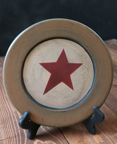 Mustard & Ivory Plate with Star - 8.5 inch