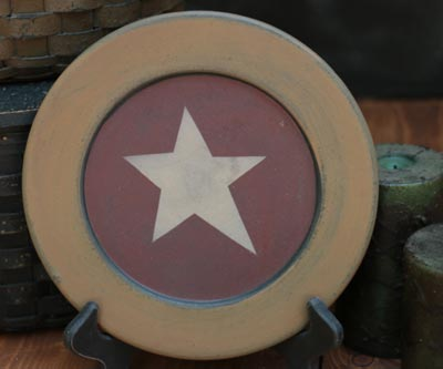 Mustard & Red Plate with Star - 9.5 inch