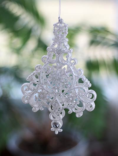 White Glittered Tree Ornament