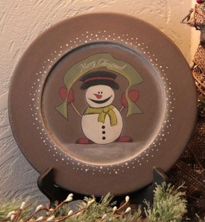 Merry Christmas Snowman Plate