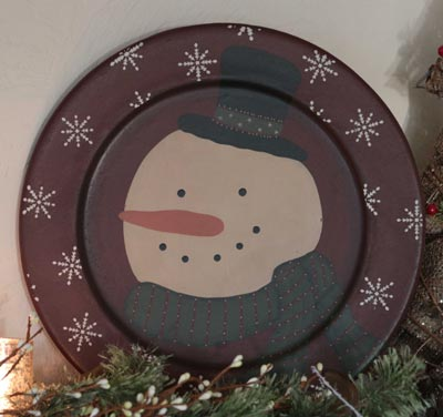Snowman Plate with Snowflakes - Red
