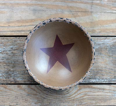 Chippy Paint Bowl with Burgundy Star