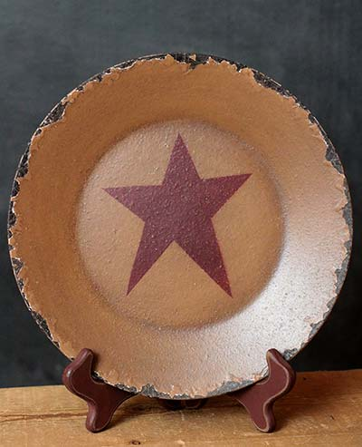 Chippy Plate with Star - Burgundy Star