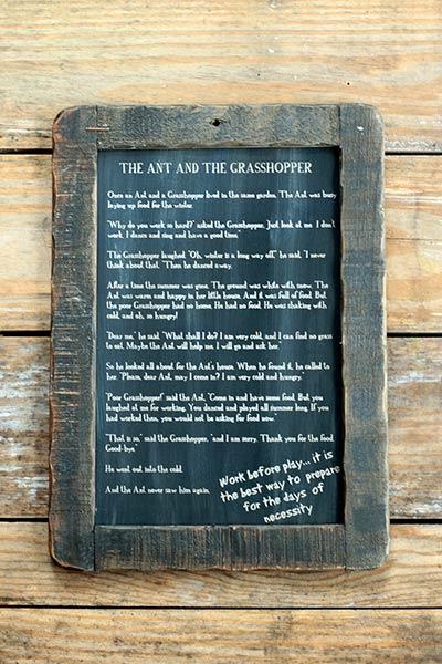 Ant and the Grasshopper Folk Tale Blackboard