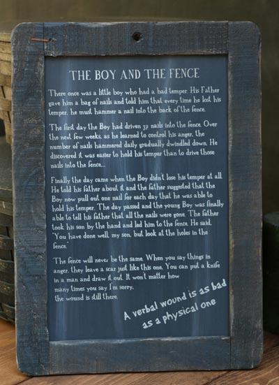 Boy and Fence Folk Tale Blackboard
