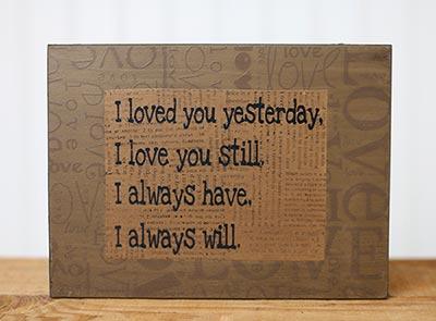 Primitive Love Box Sign