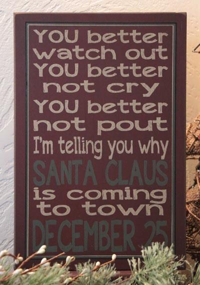 Santa Claus Primitive Christmas Box Sign - Red