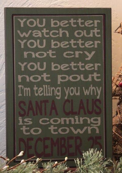 Santa Claus Primitive Christmas Box Sign - Green