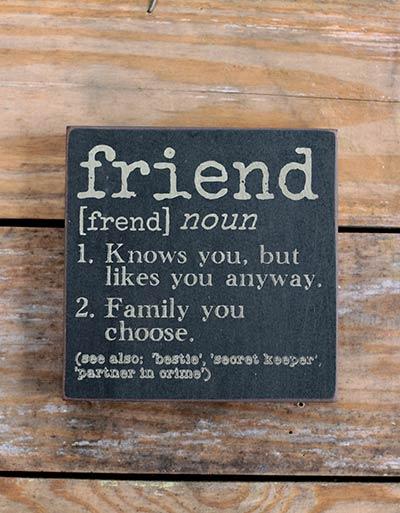 Friend Definition Wood Sign