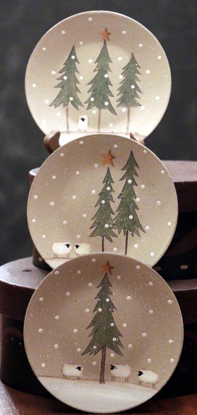 Winter Sheep Scene Plates (Set of 3)