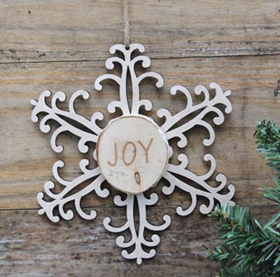 Snowflake Wood Slice Ornament - Joy