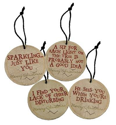 Christmas Wine Tag Ornaments (Set of 4)