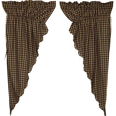 Black Check Prairie Curtain - 63 inch (Black and Tan)