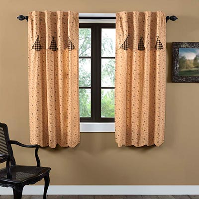 Maisie 63 inch Panel Curtain with Attached Layered Valance