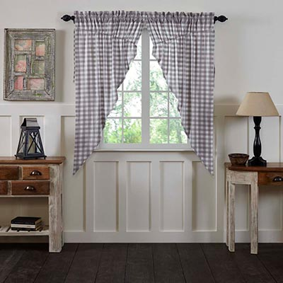 Annie Buffalo Grey Check Prairie Curtain
