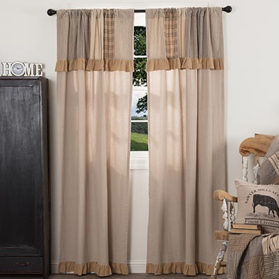 Sawyer Mill Charcoal Panel with Attached Patchwork Valance