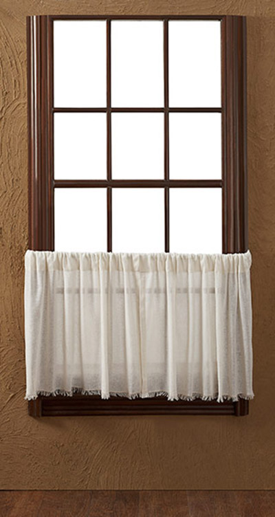 Antique White Cloth Cafe Curtains 24 Inch Tiers