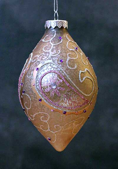 Pink & Silver Antiqued Paisley Ornament - Drop