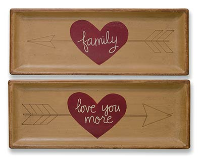 Love You More & Family Primitive Trays (Set of 2)