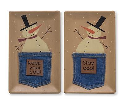 Snowmen in Denim Pockets Trays (Set of 2)