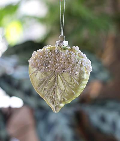 Glittered Leaf Ornament - Shorter