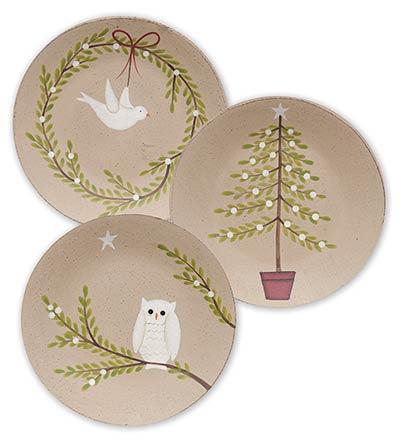 Dove, Owl, & Tree Plates (Setof 3)