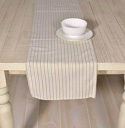 Good Classic Stripe Taupe 72 Inch Table Runner