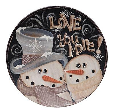 Love You More Snowmen Plate